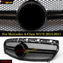 A45 Style W176 grill Grille For Mercedes Benz A-Class a180 a200 a250 grilles Replacement Front Tuning Grill black Color 2013-15