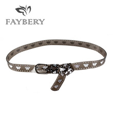 FAYBERY Transparent PVC Women Belts for Butterfly Decoration Silvery Metal Buckle Belt Womens Clothing Accessories