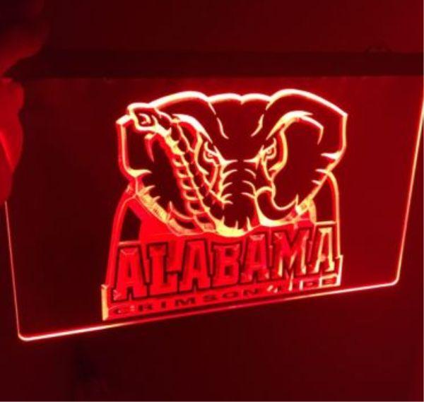 Alabama Crimson Tide 3 Size Home Decoration Wall Decor Beer Nr Bar Pub Club Led Neon