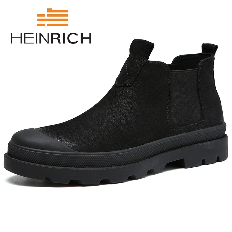 HEINRICH 2018 Autumn Spring New Fashion Men Chelsea Boots Genuine Cowhide Leather Men Winter Boots Handmade Ankle Shoes Buty jancoco max new spring genuine soft cowhide leather men baseball caps autumn winter fashion solid army hats s3062
