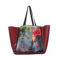 Fashion Printing Designer Bucket Handbag Stylish Genuine Leather Women Bag Saffiano Shoulder Bag Casual Soft Bucket
