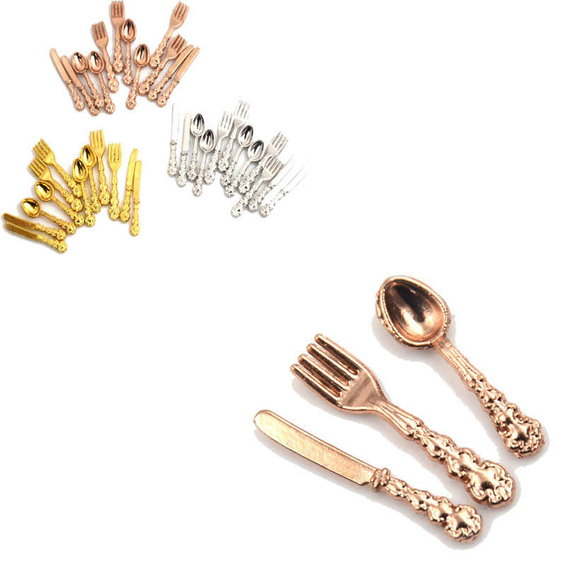 12Pcs/lot Fork Knife Soup Spoon Tableware Simulation Kitchen Food Furniture Toys 1:12 Dollhouse Miniature Accessories