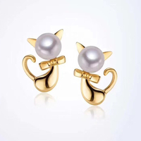 Hot Sale 925 Silver Pearl Earrings Dazzling Mickey 's cat Stud Earrings For Women Natural freshwater round pearls Jewelry
