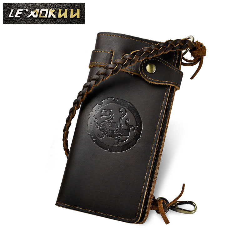 Cattle male crazy horse leather Fashion Card Case Design Chain Long Organizer Wallet Purse For Men 3377d цена 2017