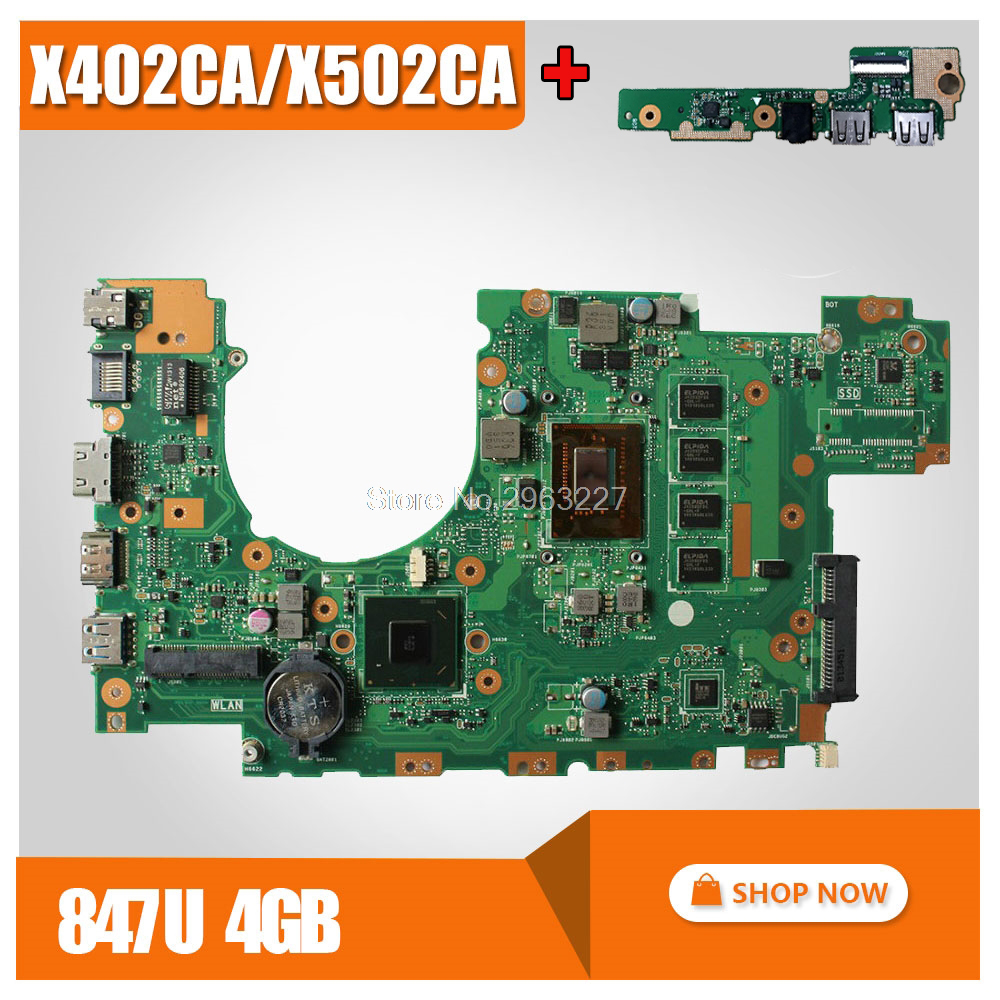 send board+X402CA Motherboard REV2.1 847cpu 4g For ASUS X502CA X402CA Laptop motherboard X402CA Mainboard X402CA Motherboard цена