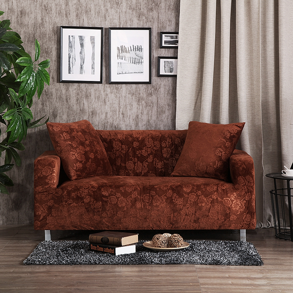 Brown sofa seat cushion cover solid color stretch furniture covers for living room polyester elastic FULL sofa cover plush