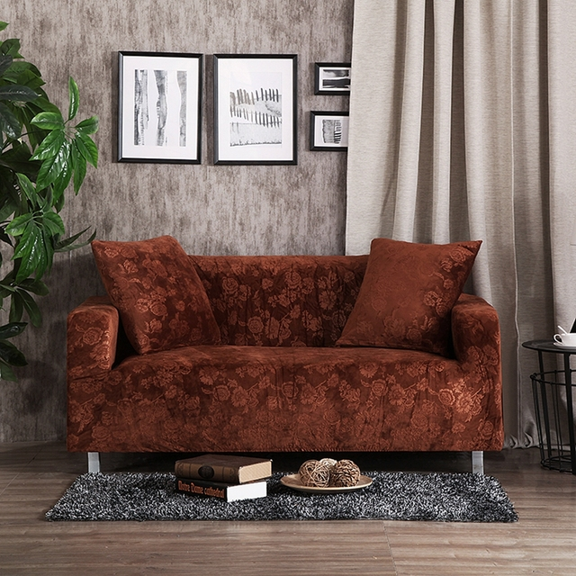 Brown Sofa Seat Cushion Cover Solid Color Stretch Furniture Covers For Living  Room Polyester Elastic FULL