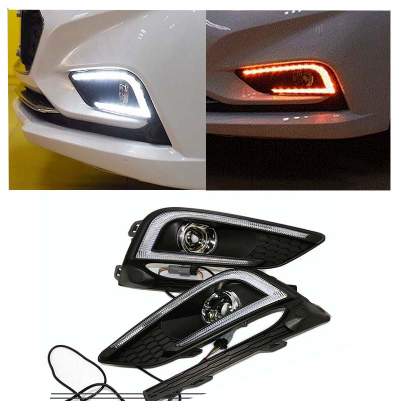 Daylight For Chevrolet Cruze 2016 2017 ABS Cover 12V Car DRL LED Daytime Running Light Lamp With Yellow Turning Function внешние аксессуары jc sportline 2011 abs primmer led chevrolet cruze 11 14
