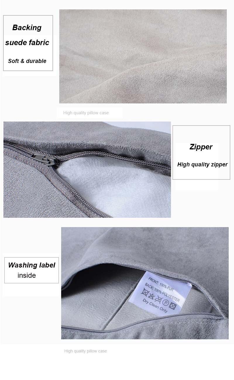 Rabbit fur pillow case detail 5