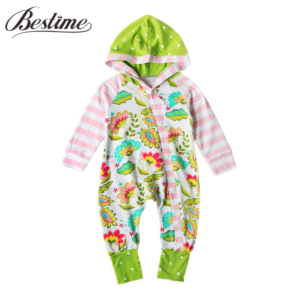 Brand Baby Girls Rompers Autumn Kids Cotton Long Sleeve Infant Zipper Romper Florals Newborn Hooded Romper Baby Clothing