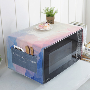 Printed Elk Microwave Oven Dust Cover with Storage Bags Cotton Linen Craft for Home Kitchen Supplies Anti-oil Protector JI007 1