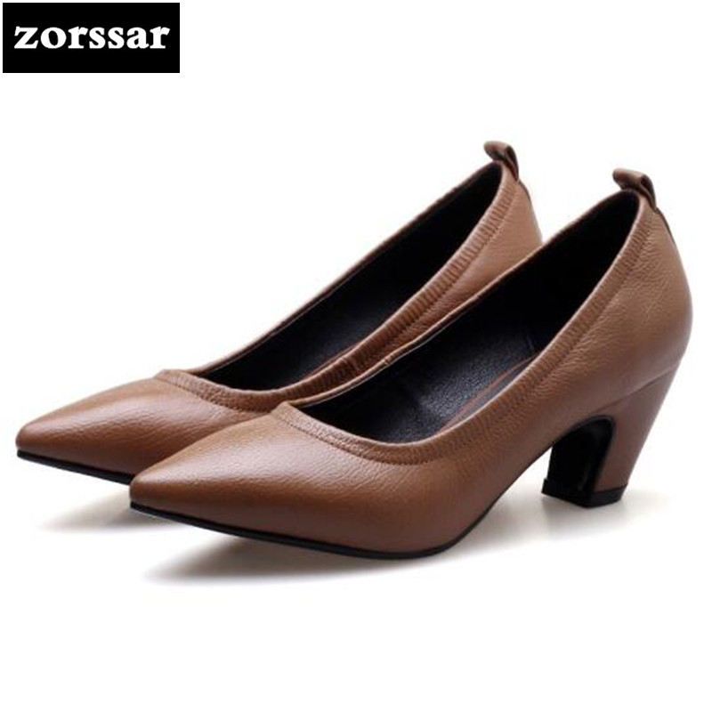 {Zorssar}2018 New fashion Genuine Leather womens shoes heels Pointed toe thick heel Slip-on Shallow shoes woman high heels pumps 2015 new design womens wedges heels pumps fashion pointed toe wood heel single shoes large size thick heels ladies shoes 34 43