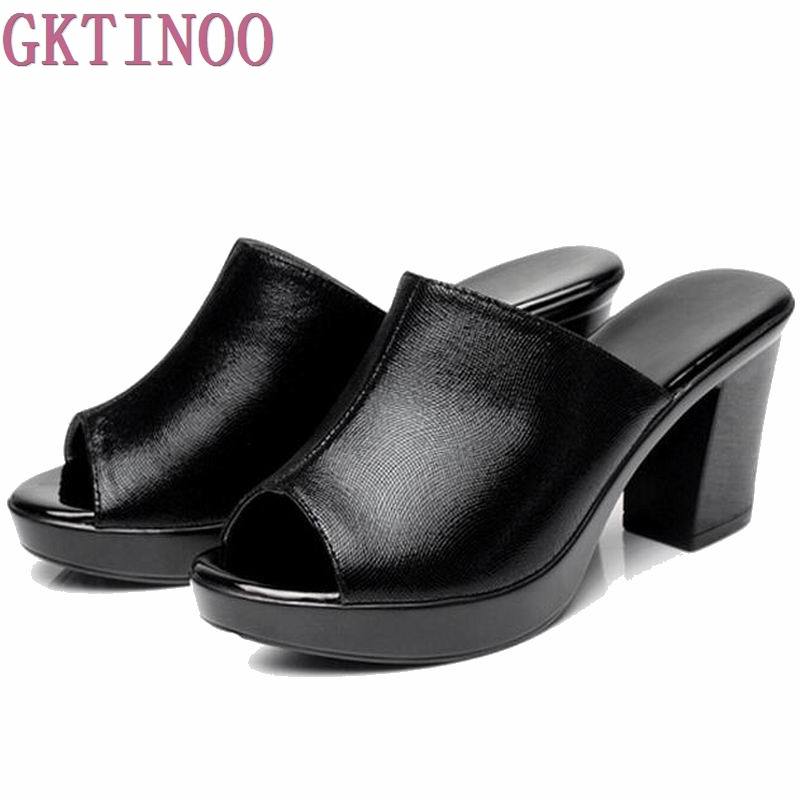 Genuine Leather Slippers 2018 Summer New thick high heel Women Shoes