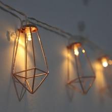 BTgeuse 1M 3M LED Decorative light Iron Gold Diamond Shape Retro Fairy String Night Light for Christmas Home Wedding Party Decor