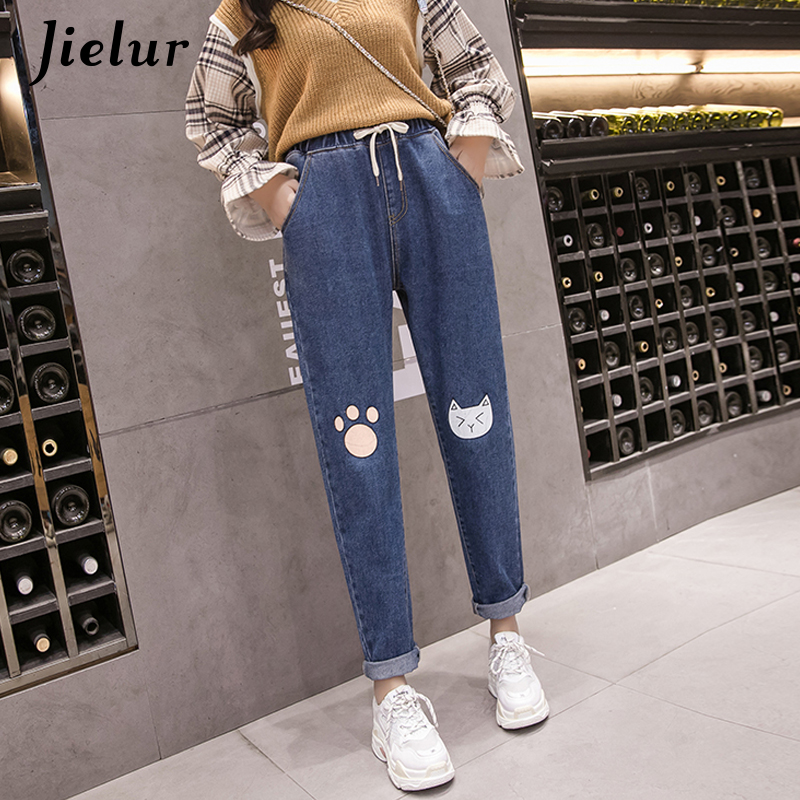 Jielur Harajuku Plus Size   Jeans   Woman Japanese Kawaii Cat Foot Printed High Waist   Jeans   Mujer Pockets Loose Harem   Jeans   Trousers