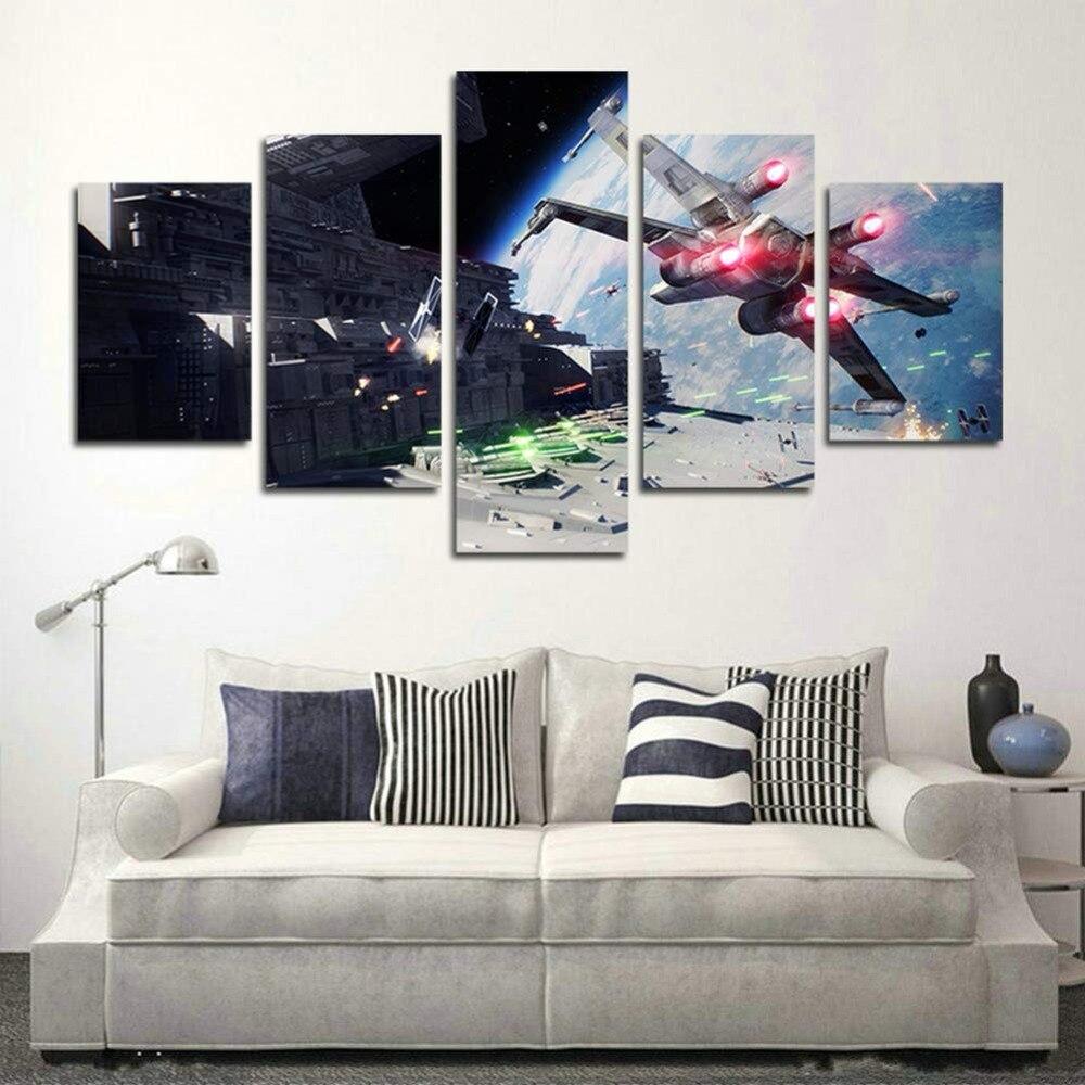 Impresi-n-de-pintura-de-la-lona-5-piezas-de-Star-Wars-Battlefront-de-la-lona
