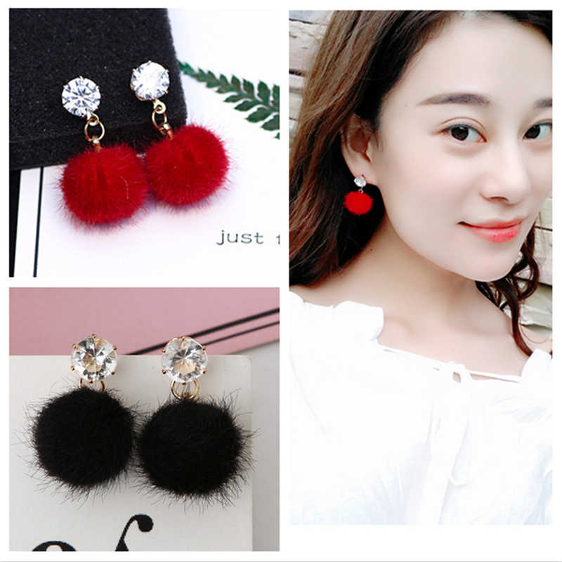 2019 Korean Drop Long Dangling Earrings Red Crystal Ball Cotton Pom Pom Earring Gold Statement Female Earring Pink Charm Jewelry