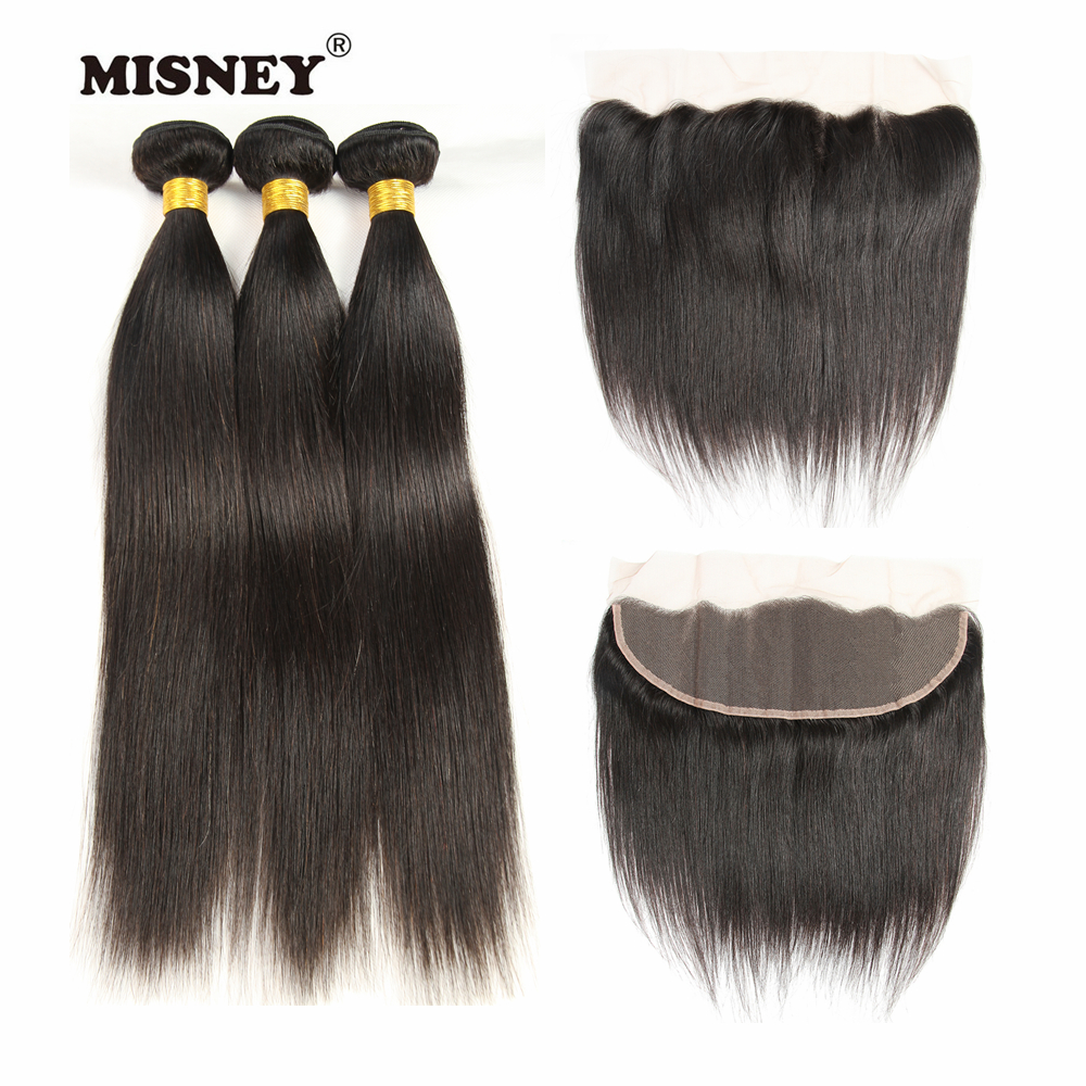Brazilian Non Remy Hair Bundles Silky Straight Human Hair 3 Bundles With 4x13 Lace Closure