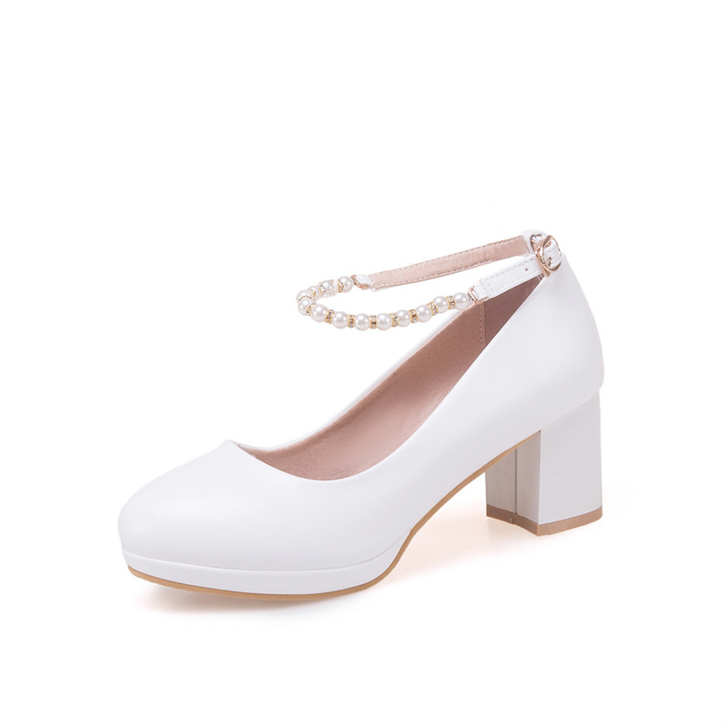 Image 5 - YMECHIC 2019 Fashion White Ankle Strap String Bead Mary Janes Wedding Shoes Woman Office Career Ladies Block Heel Shoe Plus SizeWomens Pumps   -