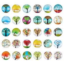 12mm עץ חיים מודפסים חצי עגול כיפת זכוכית Cabochons מעורב צבע תכשיטי ממצאי DIY 200 pcs