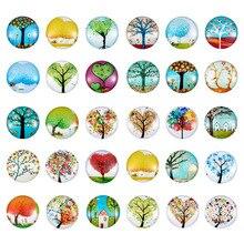12mm drzewo życia drukowane półokrągłe szklane wypukłe koraliki Cabochons mieszane kolor biżuteria ustalenia dla DIY 200 sztuk