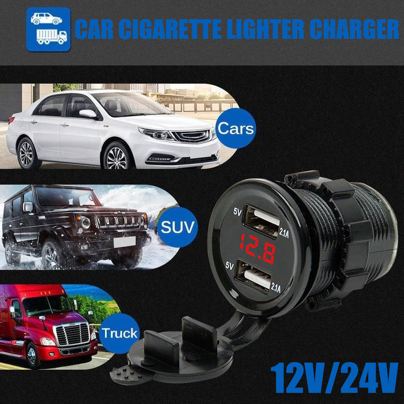 VEHEMO Dual USB Cars Cigarette Charger Auto Charger Car Accessories Waterproof Phone Universal Car Charger Pad Бейсболка