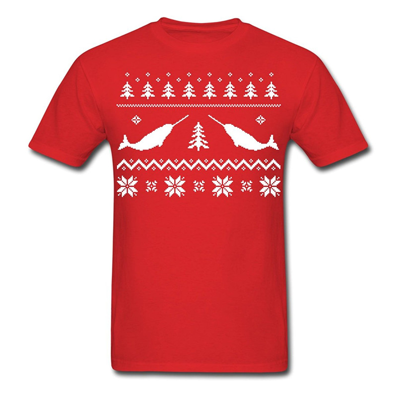 Design Your Own T Shirt Online MenS Narwhal Ugly Christmas Sweater MenS Printing Machine O-Neck Short-Sleeve T Shirts