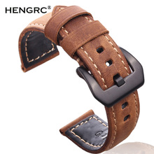 Italy Genuine Leather Handmade Watchband 22mm 24mm For PAM Vintage Watch Band Strap With Silver Black Stainless Steel Pin Buckle