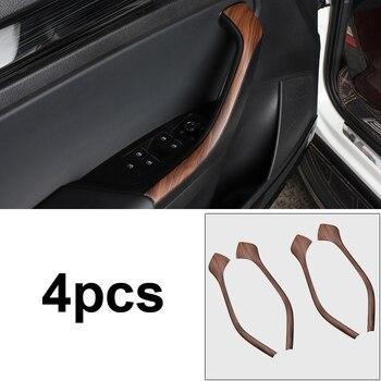 4pcs for SKODA KODIAQ Car door Handrail Decorative strip Mahogany pattern Interior decoration