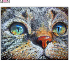 DIY 5D Diamond Painting Cross Cat Eager Eyes Embroidery Square Drill Mosaic Decoration Rhinestones Animals Gifts