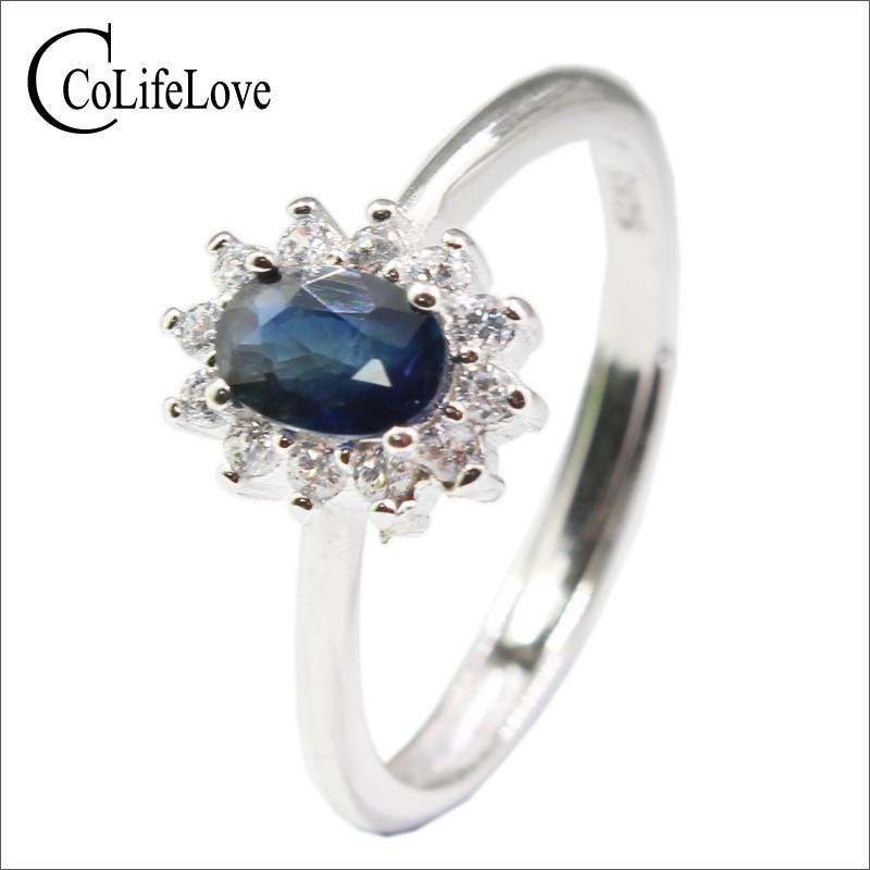 6fc0e18f1c636 Princesa Kate anel de casamento 4mm   6mm natural safira azul natural  sapphire anel de casamento