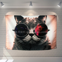 Wearing Glasses Of Cat Banners Hanging Flag Wall Sticker Cafe Restaurant Locomotive Club Live Background