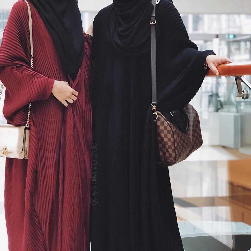 Elegnat Pleated Muslim Abaya Bat Sleeve Maxi Dress Long Robe Gowns Kimono Ramadan Eid Islamic Prayer Clothing Worship Service