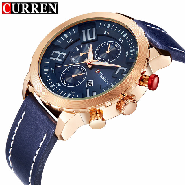 2016 New CURREN Fashion Men Sports Watches Men's Quartz Hour Date Clock Man Leather Strap Military Army Waterproof Wrist watch