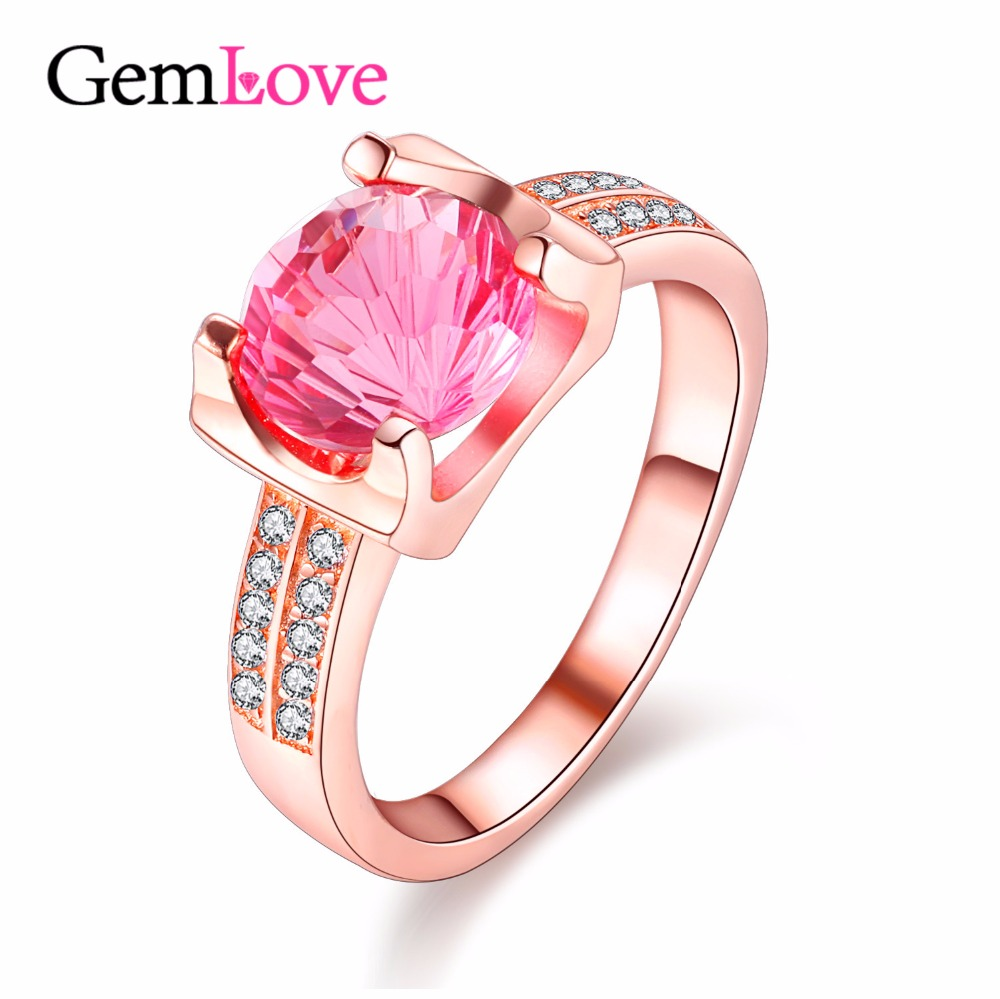 Gemlove Silver 925 Pink Topaz Rings for Women Made of Natural Stones ...