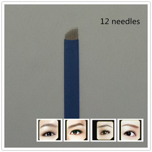 50 PCS Blue 12 Needle Eyebrow Tattoo Blades For 3D Embroidery Manual Microblading Pen Permanent Makeup