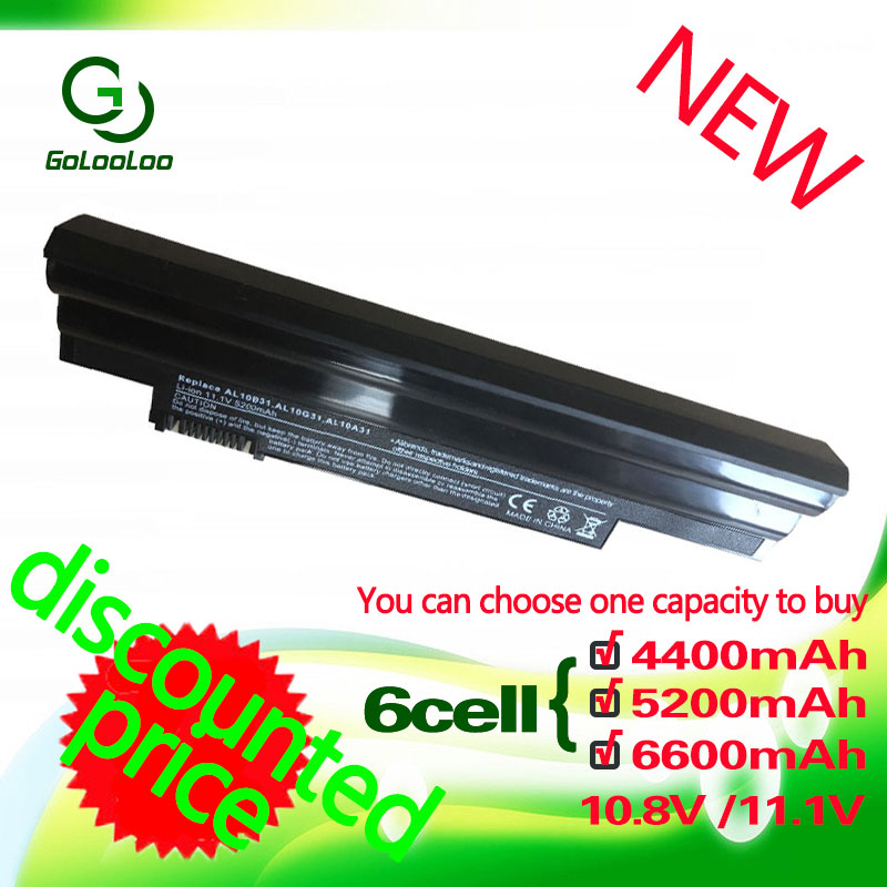 Golooloo 6 Cells White Battery For Acer Aspire AL10A31 AL10B31 AL10G31 One 522 D255 722 AOD255 AOD260 D257 D255E D260 D270