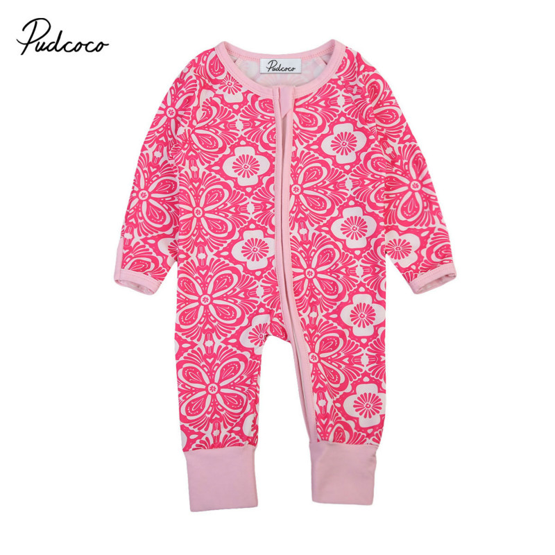 Newborn Baby Girls Floral Cotton Long Sleeve Autumn Romper Clothes Jumpsuit Kids Infant Rompers Playsuit Outfit Clothing Sunsuit toddler baby girls romper jumpsuit playsuit infant headband clothes outfits set sleeve clothing children autumn summer