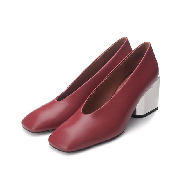 2016 cores Sólidas mulheres sapatos cabeça quadrada grossa com sapatos avó mulheres confortáveis sapatos de luva de couro genuíno saltos altos z336