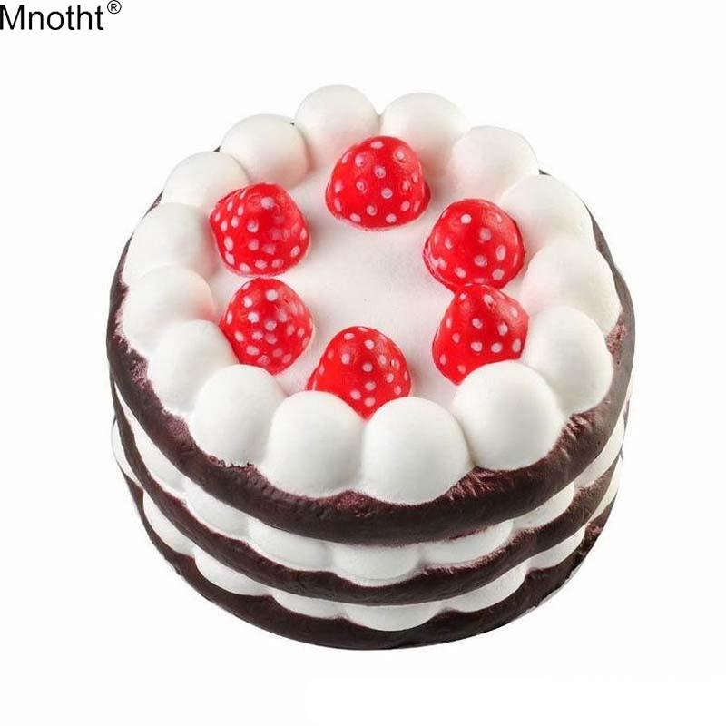 Mnotht Cheap Decompress Toys Cute Strawberry Cake Mini Squishies Slow Rising Kids Children Stress Squeeze Antistress