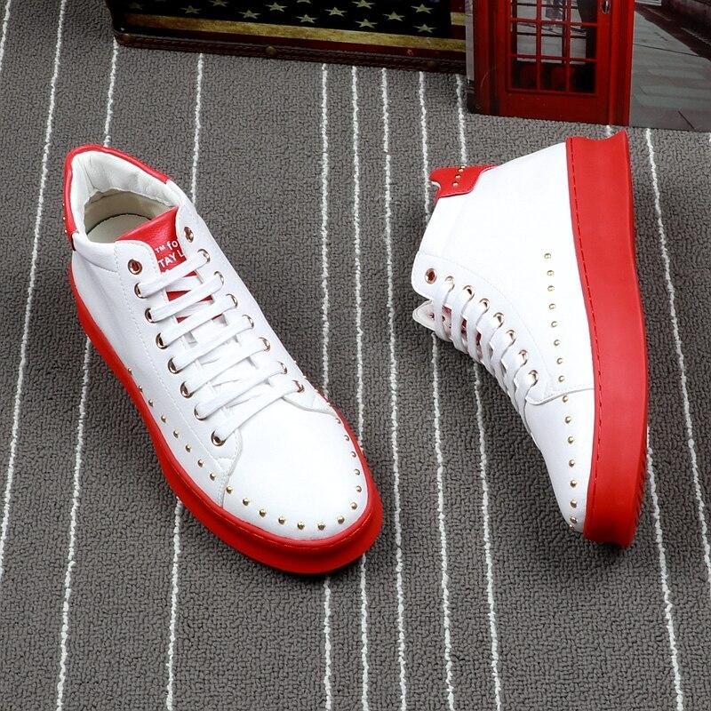 CuddlyIIPanda الرجال أزياء حذاء من الجلد ربيع الخريف المسامير عالية أعلى حذاء من الجلد الرجال رياضة الشارع حذاء كاجوال بوتاس هومبر على  مجموعة 3