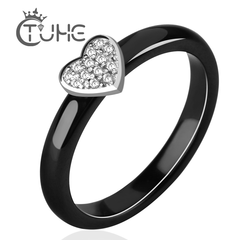 3mm Silver Heart Ceramic Rings For Women White Crystal Lovely Heart Black Rings With CZ Rhinestone Mother Gift Fashion Jewelry