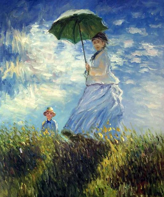 Famous Figurative Oil Painting Reproductions on Canvas Madame Monet and her Son by Claude Monet Painting Home Decor Art Vertical