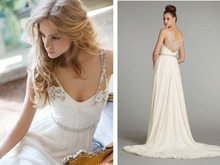 free shipping party dress women 2014 new design crystal small train beading brides maid sexy white chiffon evening dresses
