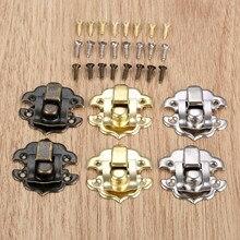 10 piezas caja cierre cierres de hierro antiguo joyas caja de candado Hasp cerrada de vino de madera de caja de regalo bolso hebilla accesorios de Hardware