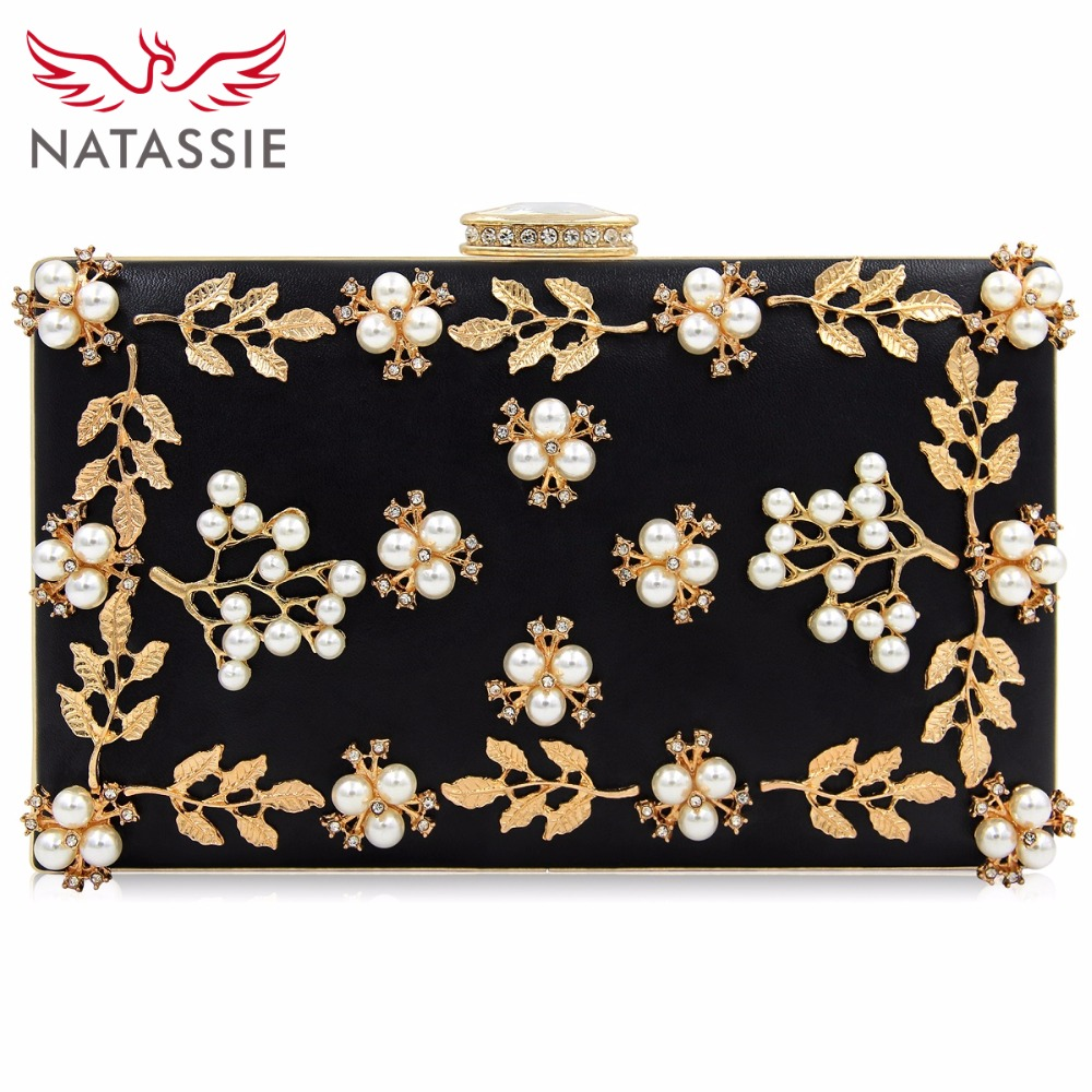 NATASSIE 2018 Women Evening Bags Fashion Beaded Clutch Bag Female Wedding Clutches Purses High Quality yuanyu 2018 new hot free shipping pearl fish skin long women clutches euramerican fashion leisure female clutches