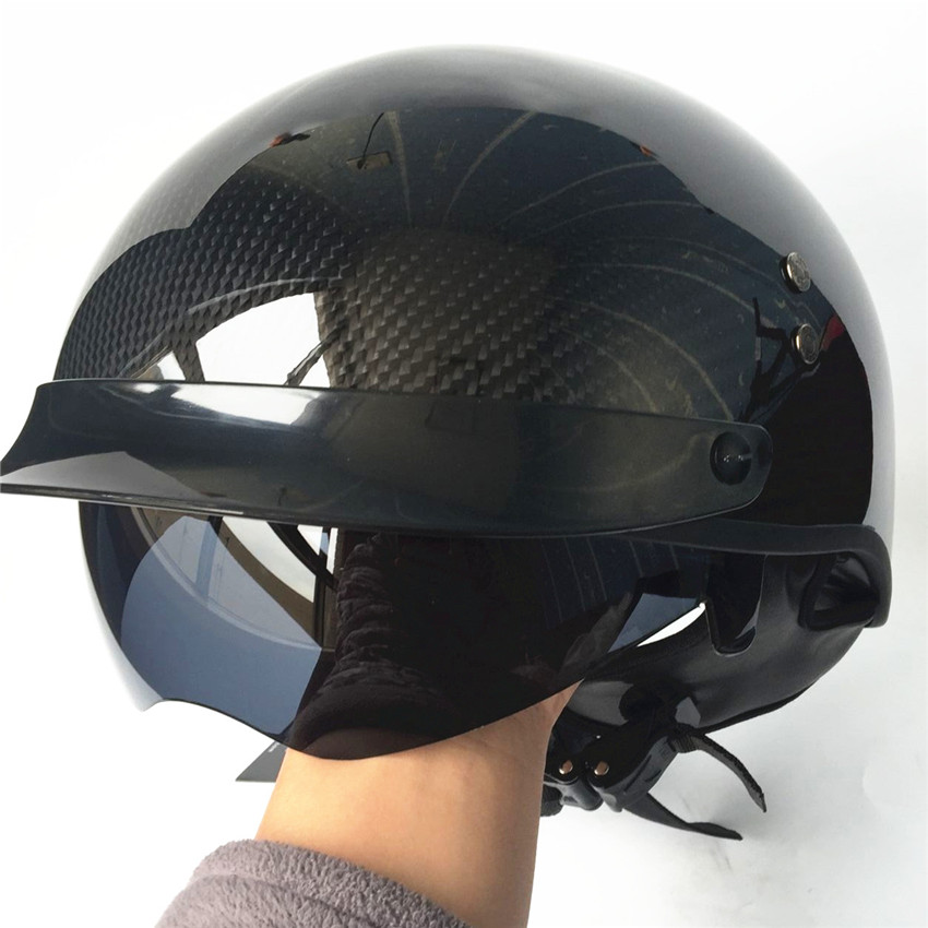 Motorcycle Carbon Fiber Helmet Motorbike Open Face Retro Vintage JET Helmets Motocross Capacete Moto Casco moto bicycle gxt dot approved harley motorcycle helmet retro casco moto cascos dirt bike open face vintage downhill helmets for women and men