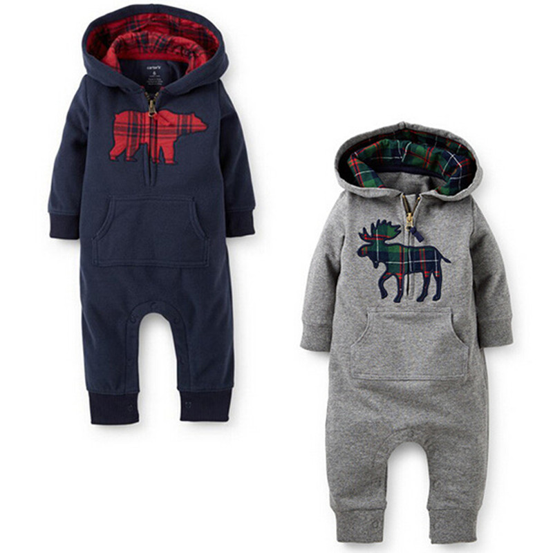 Autumn Baby Rompers New England style hooded Baby boys girls jumpsuit Climbing clothes  Long Sleeve Cotton Baby Clothing baby rompers 2016 spring autumn style overalls star printing cotton newborn baby boys girls clothes long sleeve hooded outfits