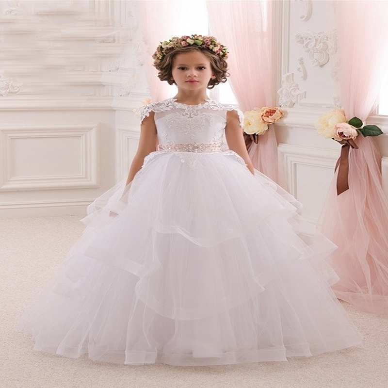 Sleeveless Flower Girls Dresses for Wedding A-line Long Graduation Gowns Children Lace Pageant Dresses for Girls Glitz