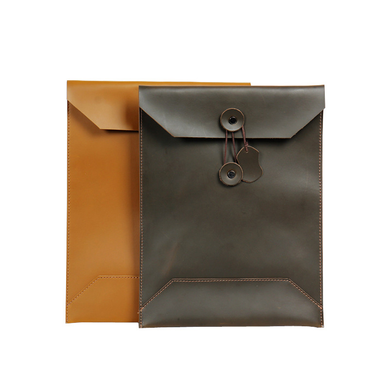 Folder for Papers Cow Nature Leather Folder for Documents Document Case Leather A4 Paper Envelope File Bag Office Supplies